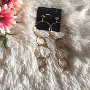 NWT Guess Earrings Drop Hoops with faux pearls